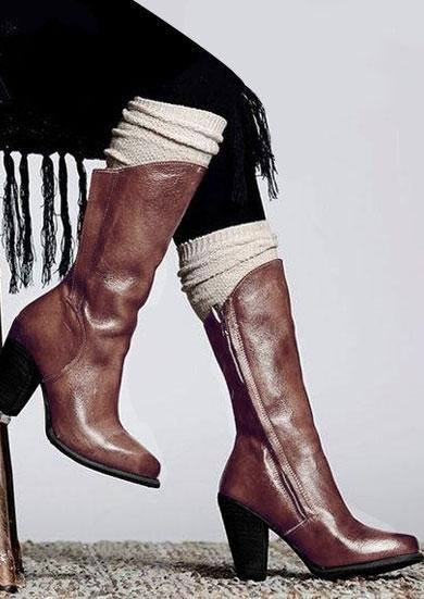 Solid Zipper Mid-Calf Boots