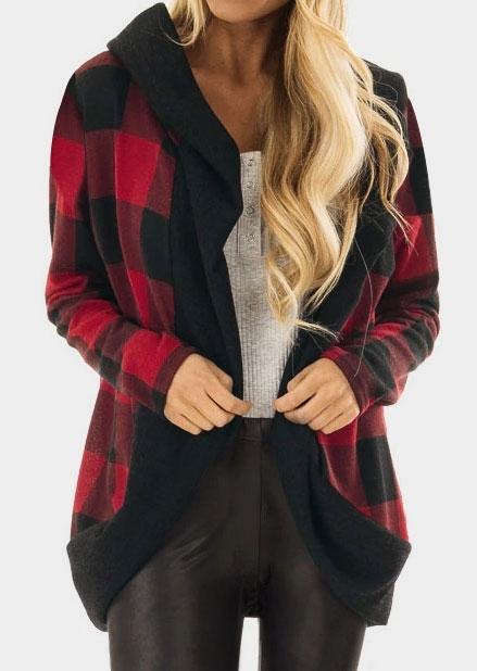 Plaid Long Sleeve Hooded Cardigan