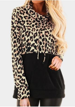 Leopard Printed Splicing Drawstring Sweatshirt