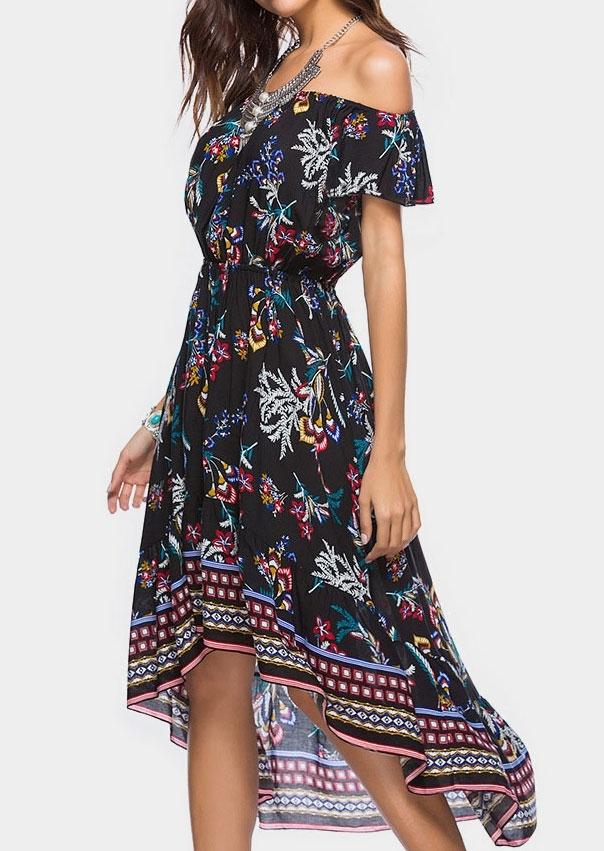 Floral Asymmetric Off Shoulder Maxi Dress