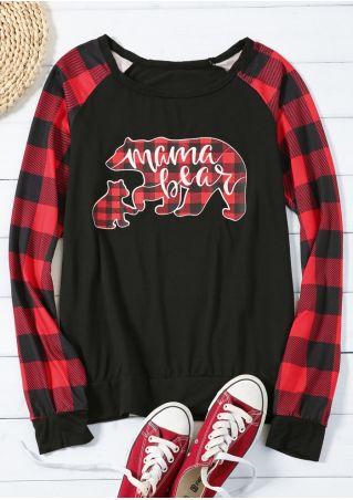 Mama Bear Plaid Baseball T-Shirt