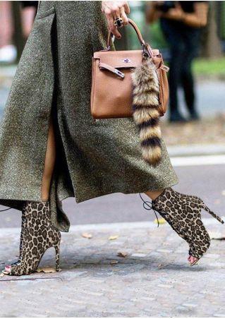 Leopard Printed Peep Toe Heeled Ankle Boots