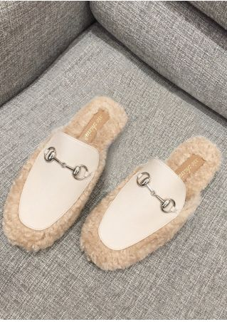 Splicing PU Faux Fur Mules
