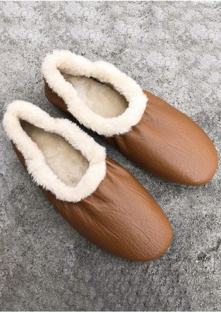 Splicing Faux Fur PU Flats