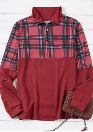 Plaid Splicing Zipper Sweatshirt