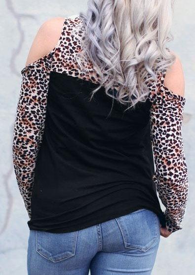 Leopard Color Block Splicing Cold Shoulder Blouse