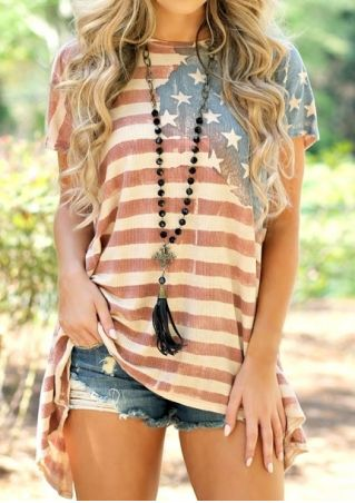 American Flag Asymmetric Blouse