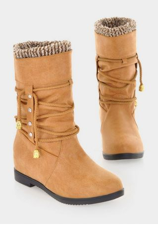 Plush Lace Up Inside Heighten Boots