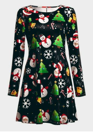 Christmas Tree Snowman Mini Dress