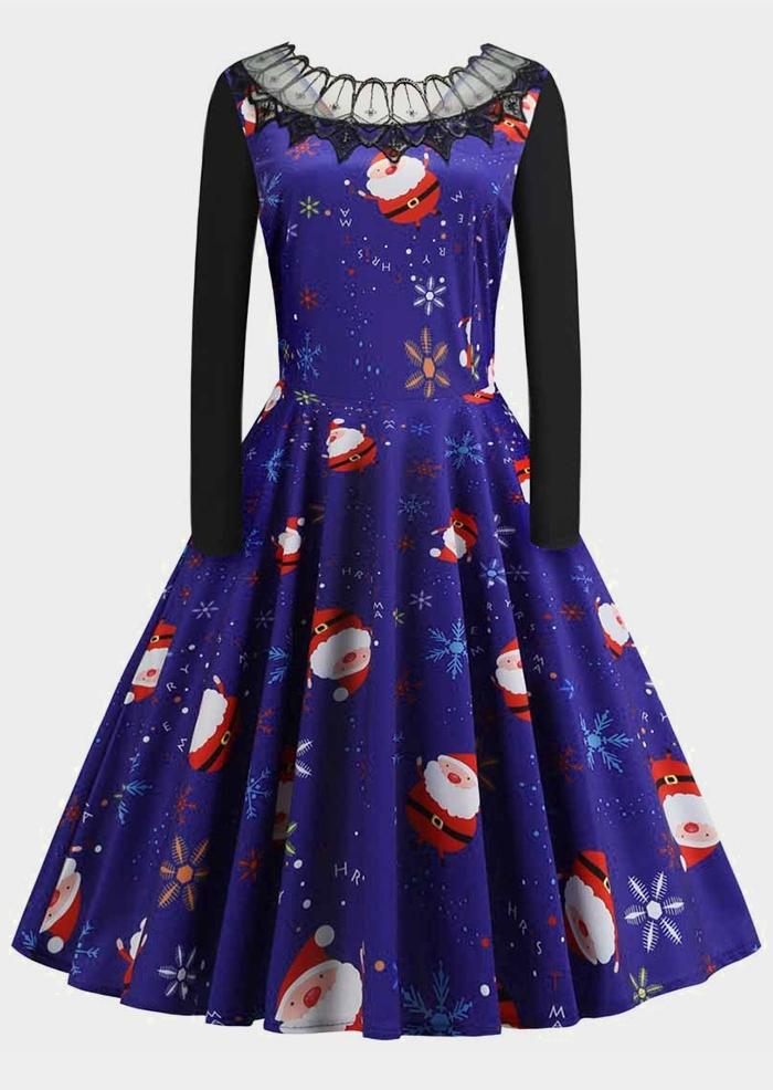 Santa Lace Splicing Casual Dress
