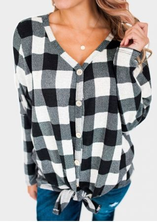 Plaid Tie Button Long Sleeve Blouse