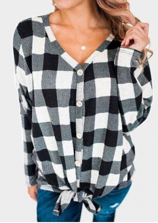 Plaid Tie Button Long Sleeve Blouse