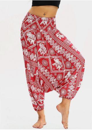 Elephant Geometric Hippie Harem Pants