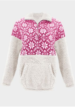 Snowflake Plush Splicing Zipper Sweatshirt