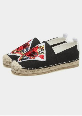 Ethnic Pocker Heart Embroidered Flats