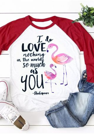 I Love You Flamingo Baseball T-Shirt