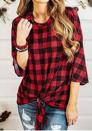 Plaid Tie Three Quarter Sleeve Blouse