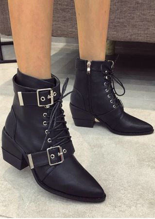 Solid Buckle Lace Up Ankle Boots