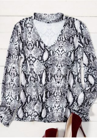 Snakeskin Printed Cut Out Blouse