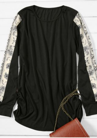Printed Splicing Ruched O-Neck Blouse