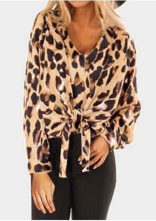 Leopard Printed Tie V-Neck Blouse