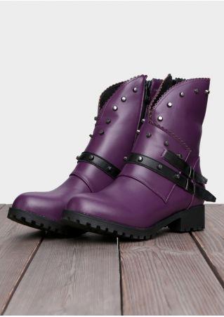 Vintage Splicing Rivet Ankle Boots