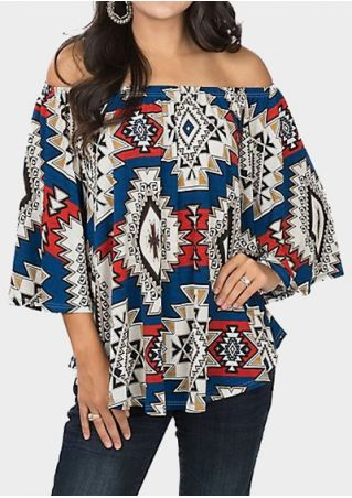 Geometric Aztec Off Shoulder Blouse