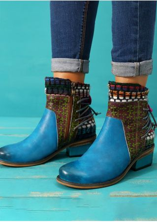 Leather Ethnic Lace Up Ankle Boots