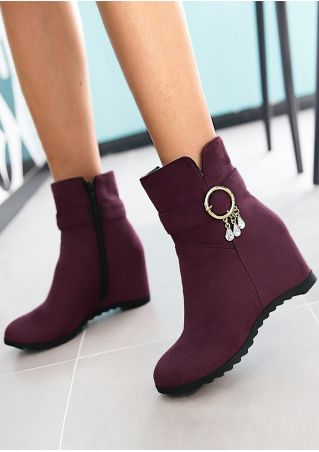 Solid Imitated Crystal Wedge Boots
