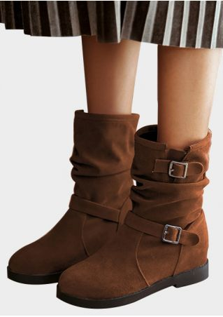 Solid Height Increasing Buckle Boots