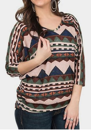 Geometric Aztec V-Neck Blouse