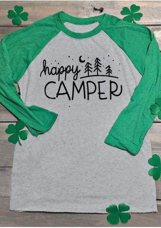 Happy Camper Tree Baseball T-Shirt