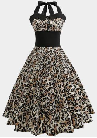 Leopard Printed Vintage Casual Dress