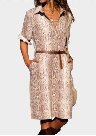 Snakeskin Printed Button Casual Dress