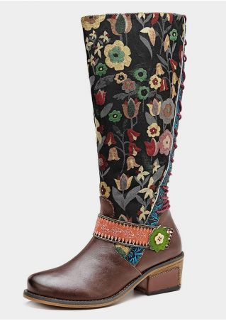 Leather Ethnic Zipper Lace Up Boots