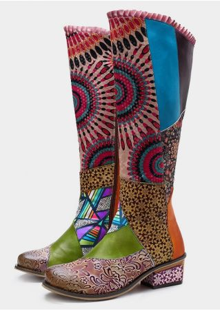 Leather Ethnic Splicing Zipper Boots