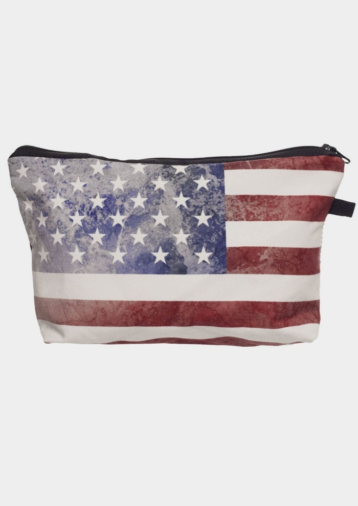American Flag Zipper Cosmetic Bag
