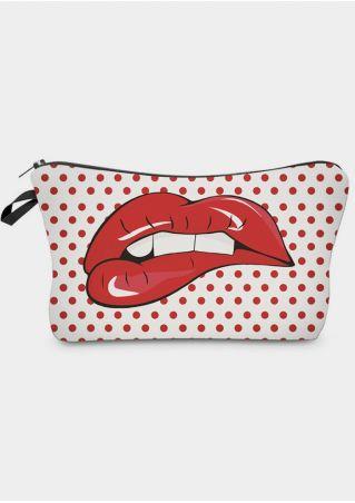 Polka Dot Lips Cosmetic Bag Pencil Case