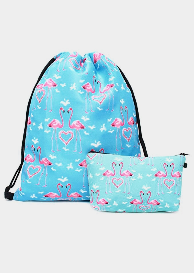 Flamingo Drawstring Backpack and Cosmetic Bag Set