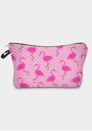 Flamingo Polka Dot Cosmetic Bag