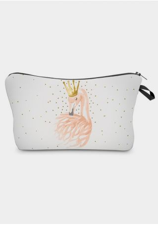 Flamingo Crown Zipper Cosmetic Bag