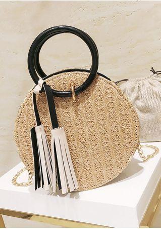 Tassel Chain Straw Handbag with Drawstring Bag