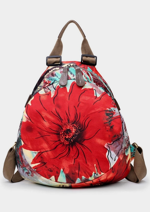 Floral Zipper Adjustable Strap Backpack