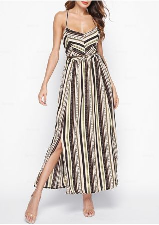 Striped Slit Lace Up Maxi Dress