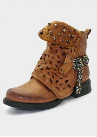 Solid Hollow Out Rivet Boots