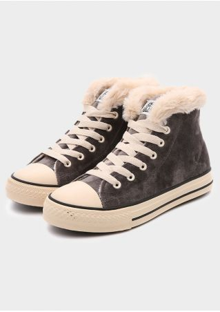 Lace Up Faux Fur Sneakers