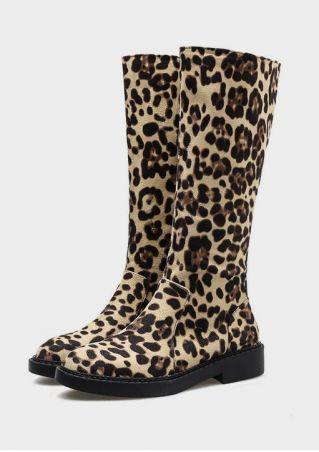 Leopard Printed Zipper Mid-Calf Boots