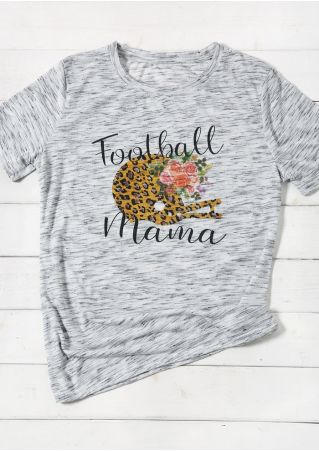Football Mama Leopard Printed T-Shirt