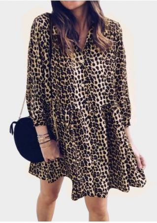 Leopard Printed Turn-Down Collar Mini Dress