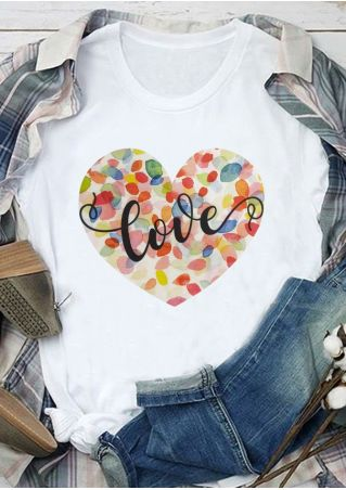 Love Heart Multicolor O-Neck T-Shirt
